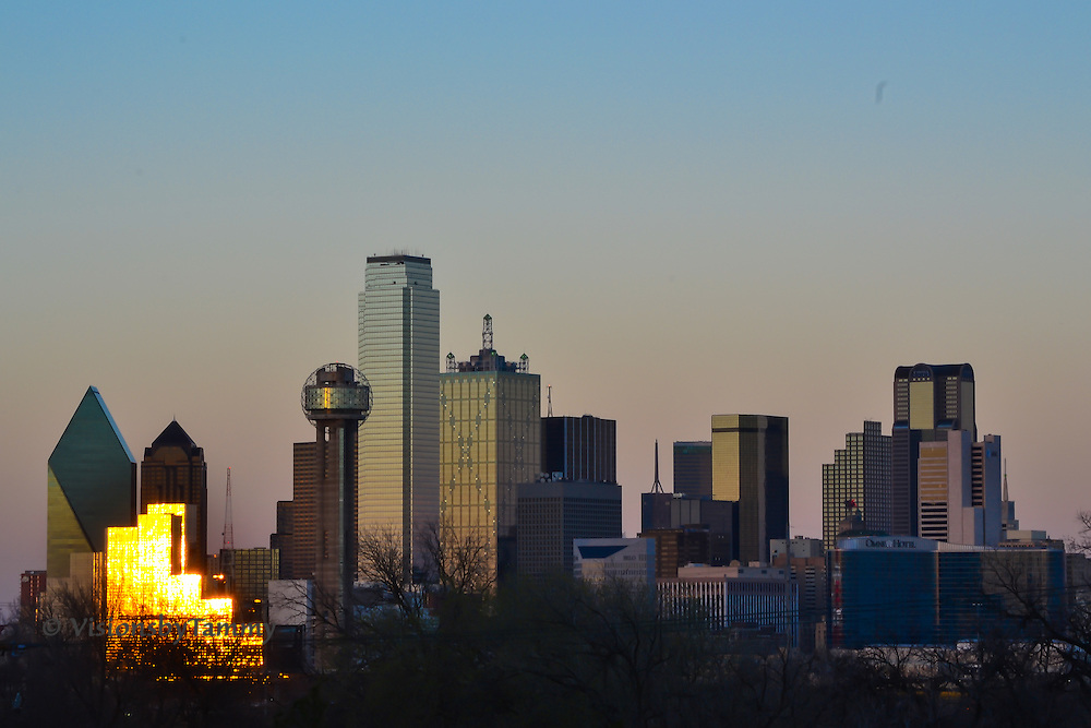 Downtown Dallas skyline at dusk