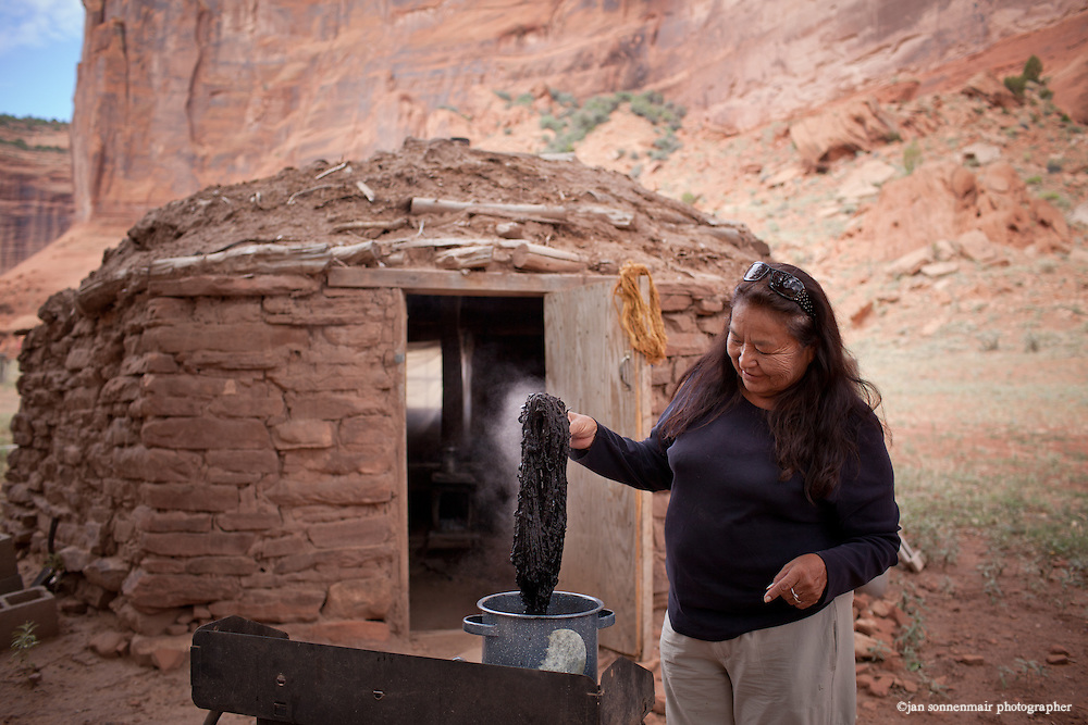 Tool, materials and plants used to dye wool, and to weave the wool into a Navajo rug.  Women do most of the work on rugs including herding and shearing the sheep.  Seen also is a women in her traditional family Hogan in the canyon of Canyon de Chelle where she grew up.  She boils black walnuts to dye the wool.  Also gathering plants and bugs from the area for dye.
