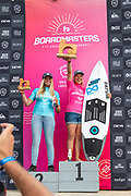 Yolanda Hopkins (PRT) crowned Women's Longboard Pro Champion, with Runner Up, Rachel Presti (GER) at Boardmasters 2019 at Fistral Beach, Newquay, Cornwall, United Kingdom on 11 August 2019.