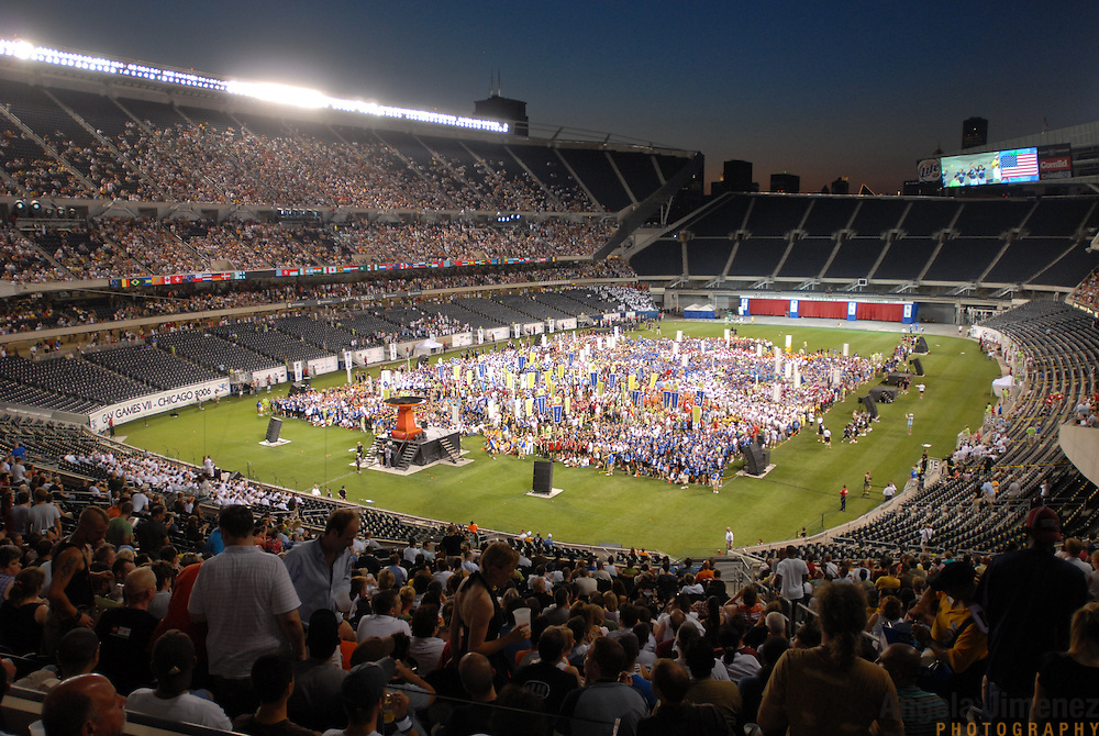 Gay and lesbian athletes from around the world gather at Soldier Field in Chicago, Illinois for the Opening Ceremonies of the Gay Games VII competition on July 15, 2006.  <br /> <br /> Over 12,000 gay and lesbian athletes from 60 countries are in Chicago competing in 30 sports during the Games from July 15 through 22, 2006. <br /> <br /> Over 50,000 athletes have competed in the quadrennial Games since they were founded by Dr. Tom Wadell, a 1968 Olympic decathlete, and a group of friends in San Francisco in 1982, with the goal of using athletics to promote community building and social change. <br /> <br /> The Gay Games resemble the Olympics in structure, but the spirit is one of inclusion, rather than exclusivity. There are no qualifying events or minimum or maximum requirements.<br /> <br /> The Games have been held in Vancouver (1990), New York (1994), Amsterdam (1998), and Sydney (2002).