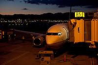 A Continental  aircraft at Salt Lake International Airport. <br /> <br /> Photo by Robert Caplin