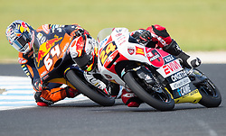 October 21, 2017 - Melbourne, Victoria, Australia - Dutch rider Bo Bendsneyder (#64) of Red Bull KTM Ajo (L) and Japanese rider Tatsuki Suzuki (#24) of SIC58 Squadra Corse in action during the third free practice session at the 2017 Australian MotoGP at Phillip Island, Australia. (Credit Image: © Theo Karanikos via ZUMA Wire)