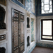 The Privy Chamber of Sultan Ahmed I was constructed in 1608. The Imperial Harem was the inner sanctum of the Topkapi Palace where the Sultan and his family lived. Standing on a peninsular overlooking the Bosphorus Strait and Golden Horn, Topkapi Palace was the primary residence of the Ottoman sultans for approximately 400 years (1465–1856) of their 624-year reign.