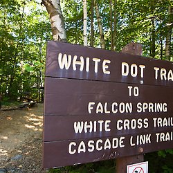 The start of the White Dot Trail in New Hampshire's Monadnock State Park.