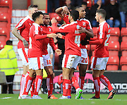 Ben Gladwin goal celebration during the Sky Bet League 1 match between Swindon Town and Rochdale at the County Ground, Swindon, England on 12 December 2015. Photo by Daniel Youngs.