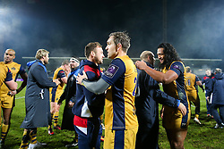 Adrian Jarvis of Bristol Rugby celebrates after Bristol Rugby win the game 18-28 - Rogan Thomson/JMP - 16/12/2016 - RUGBY UNION - Stade du Hameau - Pau, France - Pau v Bristol Rugby - EPCR Challenge Cup.