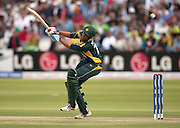 Captain Younus Khan off a short ball from Lasith Malinga during the ICC World Twenty20 Cup match between Sri Lanka and Pakistan at Lord's. Photo © Graham Morris (Tel: +44(0)20 8969 4192 Email: sales@cricketpix.com)