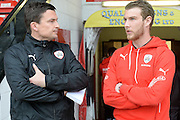 Barnsley caretaker head coach Paul Heckingbottom chats to Barnsley striker Sam Winnall during the Sky Bet League 1 play-off second leg match between Walsall and Barnsley at the Banks's Stadium, Walsall, England on 19 May 2016. Photo by Dennis Goodwin.