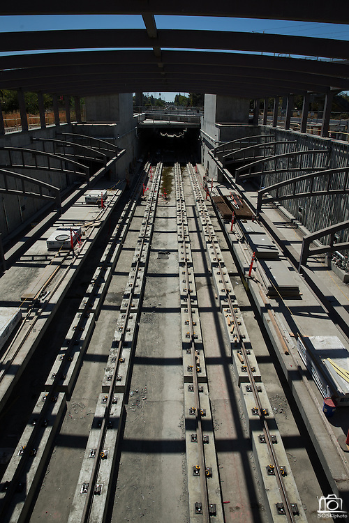 BART tracks await the electric third rails, photographed during a VTA media site tour of the Milpitas BART Station near the Great Mall of the Bay Area in Milpitas, California, on September 2, 2016. (Stan Olszewski/SOSKIphoto)