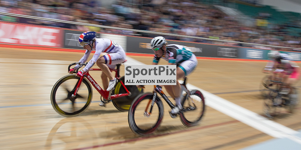 Despite falling twice, Laura Trott takes the final interim spint in the 20km Points Race during the Revoultion Series 2015/6 Round 5 Manchester, on 2 January 2016 ( (Photo by Mike Poole - SportPix)