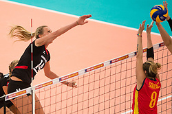 06.09.2013, Gery Weber Stadion, Halle, GER, Volleyball EM 2013, Deutschland vs Spanien, im Bild,, Angriff Margareta Kozuch (#14 GER) - Block Diana Sanchez (#8 ESP) // during the volleyball european championchip match between Germany and Spain at the Gery Weber Stadion in Halle, Germany on 2013/09/06. EXPA Pictures © 2013, PhotoCredit: EXPA/ Eibner/ Kurth<br /> <br /> ***** ATTENTION - OUT OF GER *****