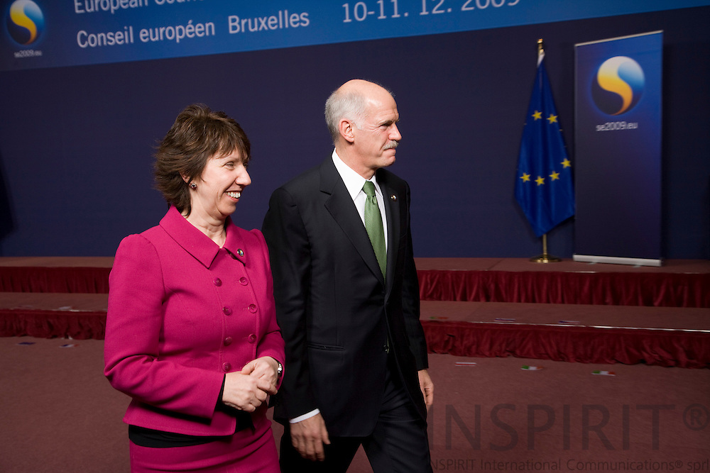 BRUSSELS - BELGIUM - 10 DECEMBER 2009 --  EU summit -- EU's foreign policy chief Catherine Ashton and Prime Minister George Papandreou, Greece. PHOTO: ERIK LUNTANG