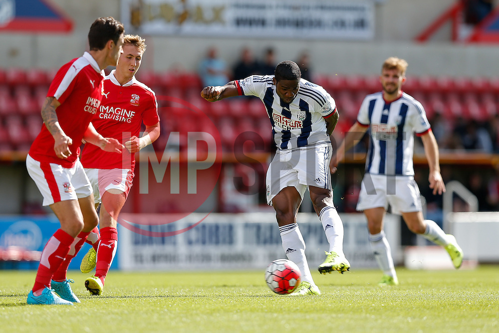 Brown Ideye of West Brom shoots - Mandatory byline: Rogan Thomson/JMP - 07966 386802 - 25/07/2015 - SPORT - Football - Swindon, England - The County Ground - Swindon Town v West Bromwich Albion - 2015/16 Pre Season Friendly.