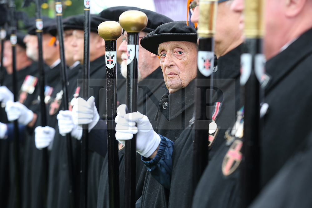 © Licensed to London News Pictures. 09/07/2016. Durham, UK. The Durham mayoral bodyguards in line at the Durham Miners' Gala in County Durham, UK. The gala is a large gathering held annually associated with the coal mining heritage and trade unionism. Photo credit : Ian Hinchliffe/LNP
