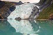 Coxe Glacier, a tidewater glacier in Barry Arm, Harriman Fjord, Prince William Sound near Whittier, Alaska.