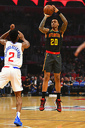 January 28, 2019 - Los Angeles, CA, U.S. - LOS ANGELES, CA - JANUARY 28: Atlanta Hawks Forward John Collins (20) shoots over Los Angeles Clippers Guard Shai Gilgeous-Alexander (2) during a NBA game between the Atlanta Hawks and the Los Angeles Clippers on January 28, 2019 at STAPLES Center in Los Angeles, CA. (Photo by Brian Rothmuller/Icon Sportswire) (Credit Image: © Brian Rothmuller/Icon SMI via ZUMA Press)