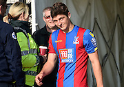 Jake Gray cracks a smile as he comes out for the Final Third Development League match between U21 Crystal Palace and U21 Coventry City at Selhurst Park, London, England on 12 October 2015. Photo by Michael Hulf.