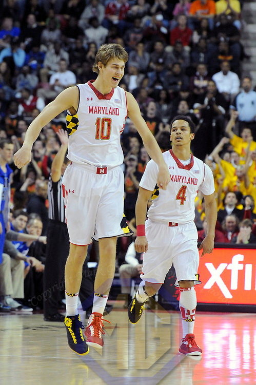 16 February 2013:   Maryland Terrapins guard/forward Jake Layman (10) reacts after scoring in action against the Duke Blue Devils at the Comcast Center in College Park, MD. where the Maryland Terrapins upset the second ranked Duke Blue Devils, 83-81.