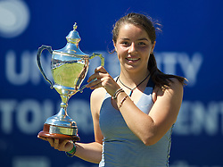 LIVERPOOL, ENGLAND - Friday, June 20, 2014: Jodie Burrage (GBR) celebrates with the trophy after winning the Ladies' Singles Final beating Tara Moore (GBR) 6-4, 7-5 on Day Two of the Liverpool Hope University International Tennis Tournament at Liverpool Cricket Club. (Pic by David Rawcliffe/Propaganda)