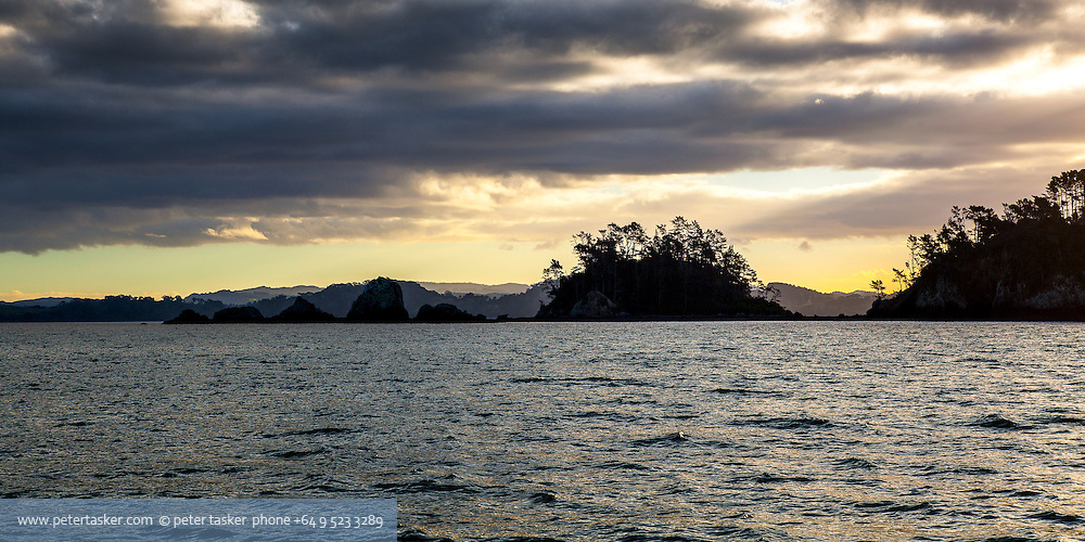 Moturekareka Island, Hauraki Gulf, Auckland, New Zealand. Evening, western end.