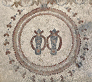 Mosaic of a pair of sandals from the entrance of the Burnt Palace, forming part of the Archeological Park of Madaba, Jordan. This mosaic indicated that shoes should be removed on entering the building. The Palace was a late 6th century private mansion destroyed by fire and earthquake in 749 AD. Its name stems from the thick ashy layer overlying the mosaic pavement when excavated. Picture by Manuel Cohen