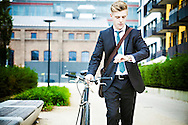 Businessman, Well-dressed, Bicycle, Checking  The Time,