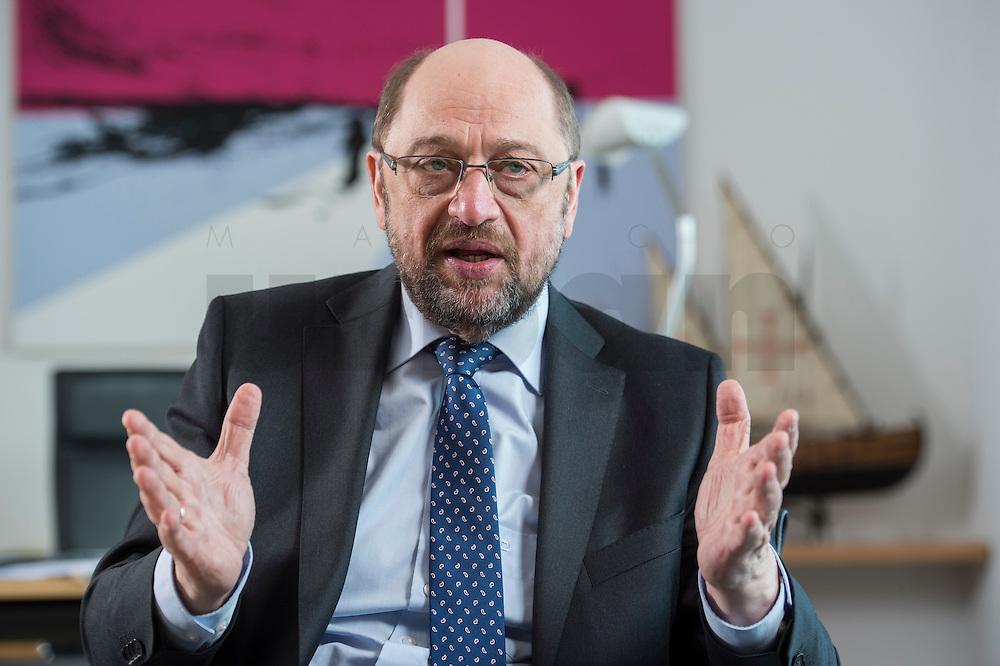 27 FEB 2017, BERLIN/GERMANY:<br /> Martin Schulz, SPD, desig. Parteivorsitzender und Kanzlerkandidat, waehrend einem Interview, in seinem Beuro, Willy-Brandt-Haus<br /> IMAGE: 20170227-01-026