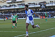 Bristol Rovers Ellie Harrison (9) scores and celebrates the equaliser 1-1 second  half  during the EFL Sky Bet League 1 match between Bristol Rovers and Scunthorpe United at the Memorial Stadium, Bristol, England on 24 February 2018. Picture by Gary Learmonth.