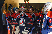 KELOWNA, CANADA - DECEMBER 17: Connor Ingram #39 of Kamloops Blazers stands in the tunnel at the start of warm up against the Kelowna Rockets on December 27, 2014 at Prospera Place in Kelowna, British Columbia, Canada.  (Photo by Marissa Baecker/Shoot the Breeze)  *** Local Caption *** Connor Ingram;