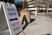 A voter walks into the Tarrant County Plaza Building to cast his primary ballot in Fort Worth, Texas on March 4, 2014. (Cooper Neill / for The Texas Tribune)