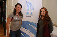 REPRO FREE***PRESS RELEASE NO REPRODUCTION FEE***<br /> Irish Sailing Awards, Royal College of Surgeons, Stephen's Green, Dublin 4/2/2016<br /> National Yacht Club sailor Liam Shanahan was named the 2015 Irish Sailor of the Year today at the Irish Sailing Awards in Dublin - Shanahan had a remarkable year, including victory in the Dun Laoghaire to Dingle race in June on his boat Ruth with two miles to spare.<br /> Kilkenny's Doug Elmes and Malahide's Colin O'Sullivan jointly took home the Irish Sailing Association (ISA) Youth Sailor of the Year award. The Howth Yacht Club sailors were hotly tipped following their recent Bronze medal success at the 2015 Youth World Championships in Malaysia, where they took Ireland's first doublehanded youth worlds medal in 19 years.<br /> The Mitsubishi Motors Sailing Club of the Year award was presented to the Royal Irish Yacht Club in honour of their success at local, national and international level.<br /> Mullingar Sailing Club took home the ISA Training Centre of the Year award, having been nominated as winners of the western-region Training Centre of the Year.<br /> Pictured is Annalise Murphy and Aisling Keller, Youth Sailor of the Year nominee<br /> Mandatory Credit ©INPHO/Cathal Noonan