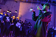 "DETROIT - JANUARY 29: Big Sean raps along to tracks from his new album during a small, intimate album listening party Sunday January 29, 2017 at the Museum of Contemporary Art Detroit in midtown. His new album titled ""I Decided"" comes out Friday. (Photo by Bryan Mitchell/Special to Detroit News)"