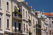 Ornate old restored buildings in the old town of Belgrade, Serbia