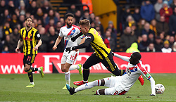 Crystal Palace's Cheikhou Kouyate (right) and Watford's Gerard Deulofeu battle for the ball during the FA Cup quarter final match at Vicarage Road, Watford.
