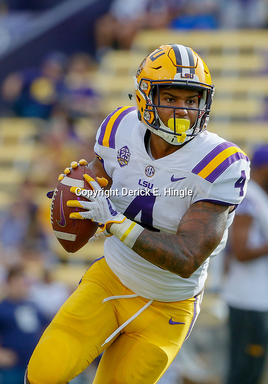 Sep 8, 2018; Baton Rouge, LA, USA; LSU Tigers running back Nick Brossette (4) before a game against the Southeastern Louisiana Lions at Tiger Stadium. Mandatory Credit: Derick E. Hingle-USA TODAY Sports