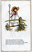 Little Bo-Peep has lost her sheep/And can't tell where to find them.   Illustration by Kate Greenaway (1846-1901) for a book of nursery rhymes. Chromolithograph.