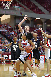 02 November 2008: Ashleen Bracey eyes the bucket over the shoulder of Jessica Stuckman during a game which the Illinois State Redbirds defeated Odyssey on Doug Collins Court inside Redbird Arena in Normal Illinois.