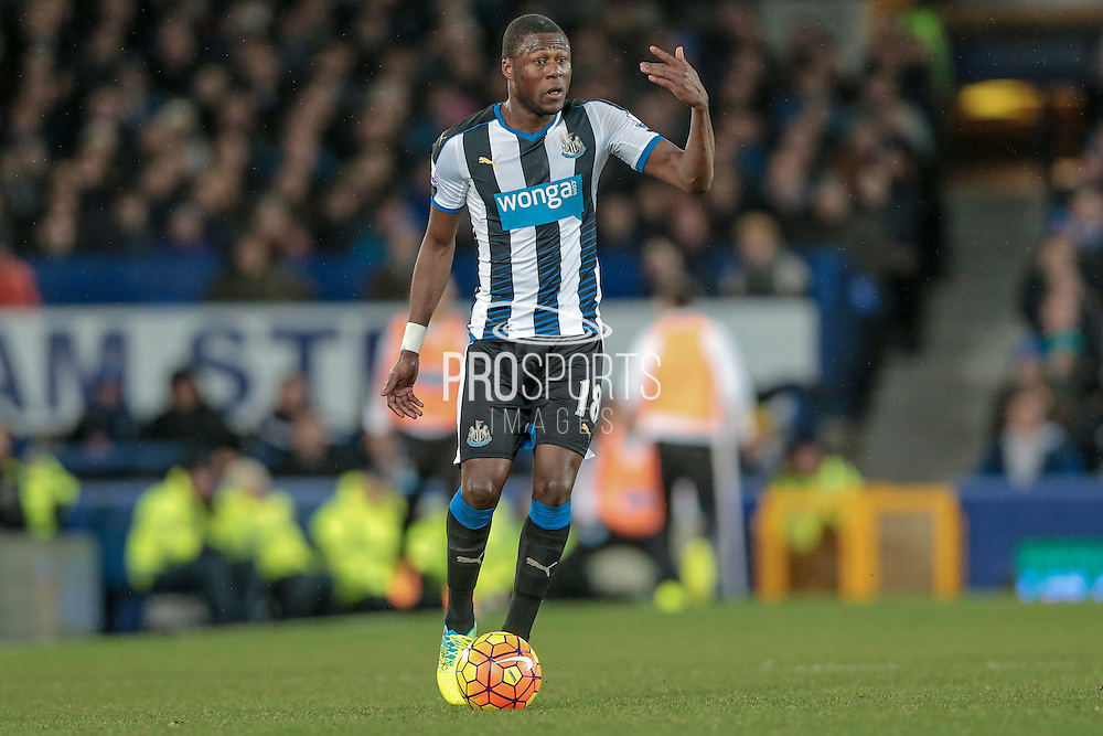 Chancel Mbemba (Newcastle United) during the Barclays Premier League match between Everton and Newcastle United at Goodison Park, Liverpool, England on 3 February 2016. Photo by Mark P Doherty.