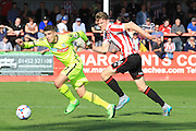 Adam Mekki and Rob Dickie during the Vanarama National League match between Cheltenham Town and Tranmere Rovers at Whaddon Road, Cheltenham, England on 26 September 2015. Photo by Antony Thompson.
