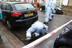 © Licensed to London News Pictures. 02/04/2019. London, UK. Forensic and search team officers carrying out the search within the crime scene in Edmonton, North London where a man in his 30s was stabbed just after 5am this morning. He is in a life threatening condition. According to the police the victim was attached on Fairfield Road in Edmonton.  On Sunday 31 March 2019, four people were stabbed in just 14 hours during knife attacks within a quarter-mile radius in Edmonton North London, including one on Aberdeen Road. Two men were arrested on suspicious of grievous bodily harm. Photo credit: Dinendra Haria/LNP