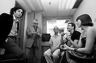 Gustavo Dudamel, Leonardo Padron, Julio Bocca y Eloisa Marturen en el camerino del Centro Cultural Corp Banca. Caracas, 31-07-08 (ivan gonzalez)
