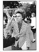 Eileen Ford. Leaving Valentino fashion show. Paris. 1991. © Copyright Photograph by Dafydd Jones 66 Stockwell Park Rd. London SW9 0DA Tel 020 7733 0108 www.dafjones.com