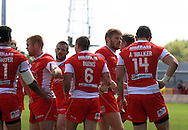 Adam Walker (14) of Hull Kingston Rovers celebrate his teams 3rd try of the game with team mates during the First Utility Super League match at the KC Lightstream Stadium, Kingston upon Hull<br /> Picture by Richard Gould/Focus Images Ltd +44 7855 403186<br /> 25/05/2014
