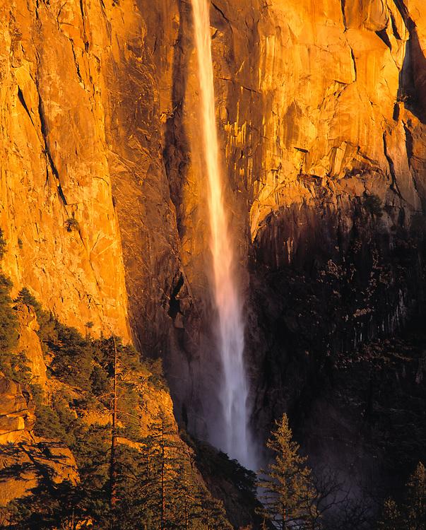Bridal Veil Falls follows a narrow path down the valley wall at Yosemite NP, California, a World Heritage Site.
