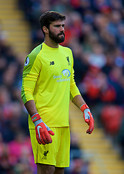 LIVERPOOL, ENGLAND - Sunday, October 7, 2018: Liverpool's goalkeeper Alisson Becker during the FA Premier League match between Liverpool FC and Manchester City FC at Anfield. (Pic by David Rawcliffe/Propaganda)
