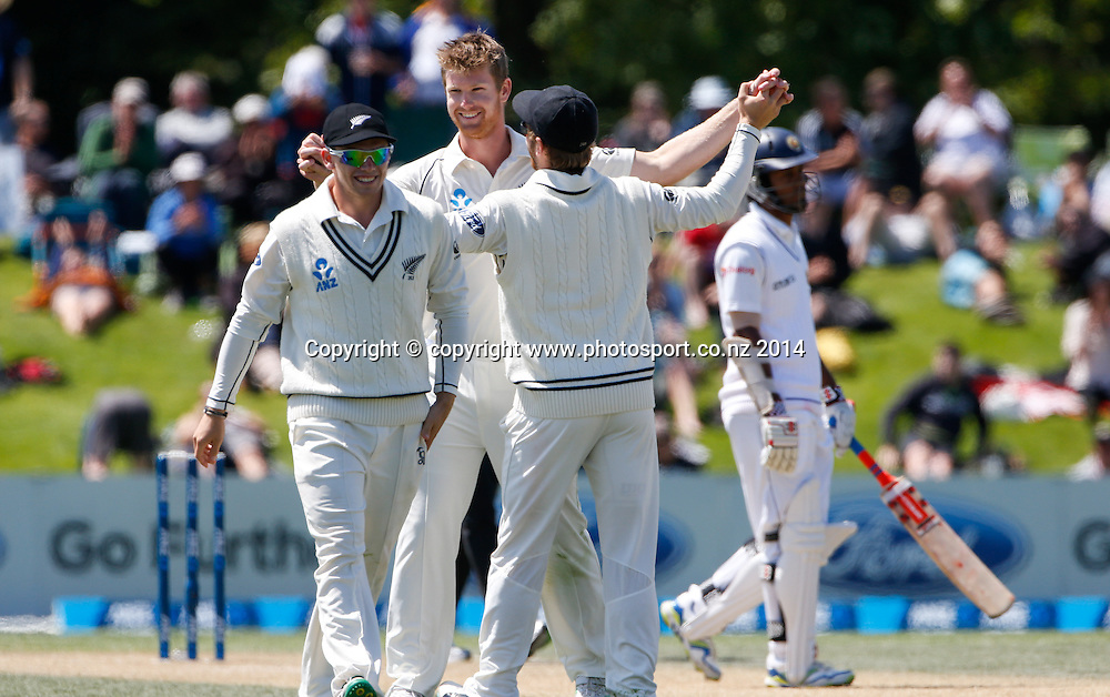 Jimmy Neesham elebrates a wicket. Day 3, ANZ Boxing Day Cricket Test, New Zealand Black Caps v Sri Lanka, 28 December 2014, Hagley Oval, Christchurch, New Zealand. Photo: John Cowpland / www.photosport.co.nz