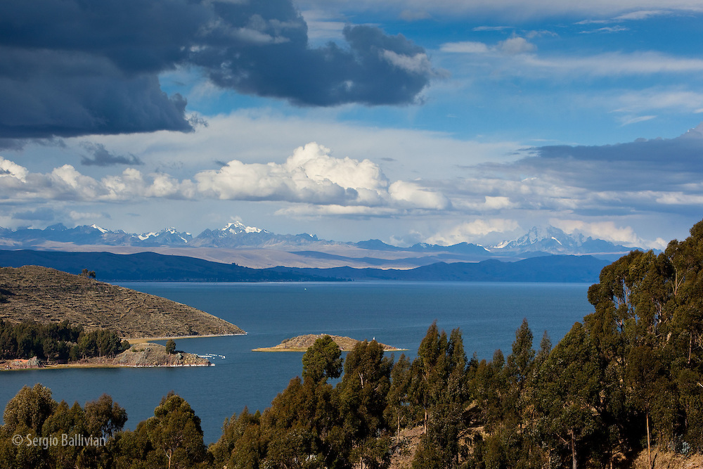 The Strait of Tiquina and the Cordillera Real mountain range as seen from Lake Titicaca, Bolivia