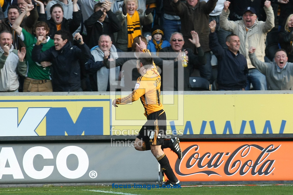 Hull - Saturday March 19th, 2011: Nick Barmby of Hull City scores his sides equalising goal and celebrates during the Npower Championship match at The KC Stadium, Hull. (Pic by Paul Chesterton/Focus Images)