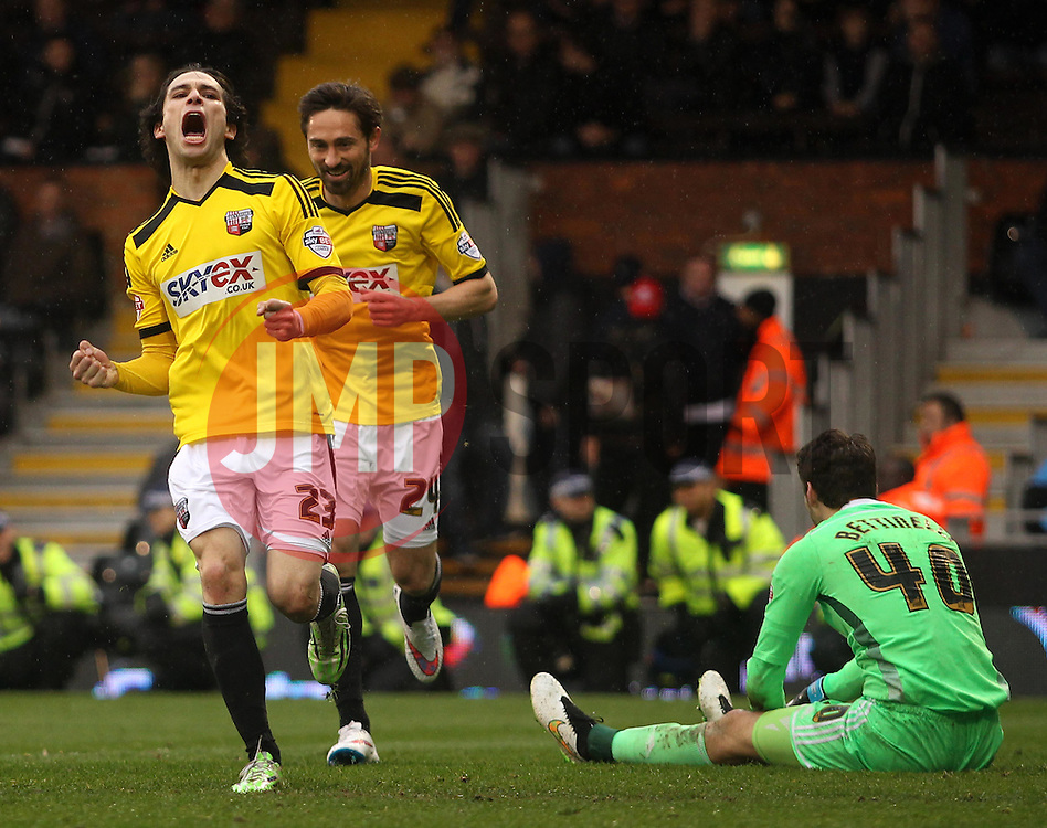 Brentford's Jota celebrates scoring - Photo mandatory by-line: Robbie Stephenson/JMP - Mobile: 07966 386802 - 03/04/2015 - SPORT - Football - Fulham - Craven Cottage - Fulham v Brentford - Sky Bet Championship