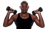 Handsome  Body Builder African American doing excersice.